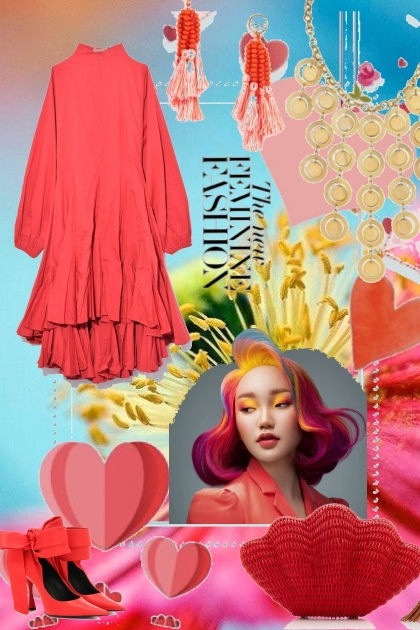 Aprikosfarget kjole 18