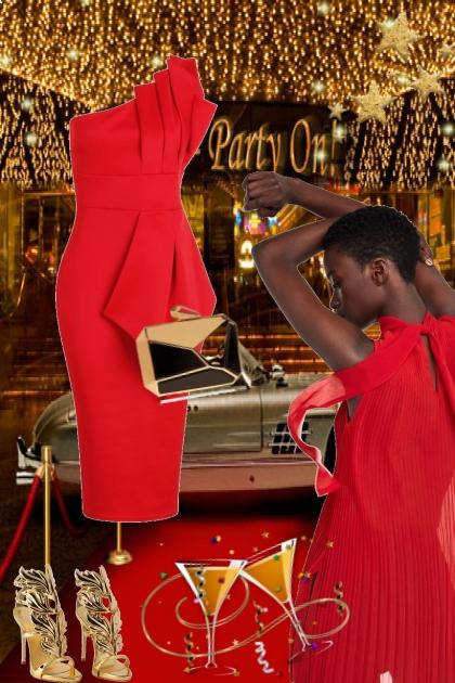 Rød kjole og gull tilbehør