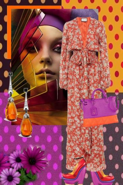 Aprikosfarget jumpsuit med lilla tilbehør- Fashion set