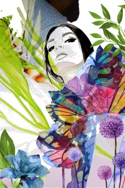 Dame med blomster