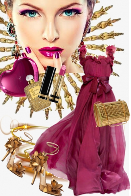 Burgunderrød sid kjole med gull