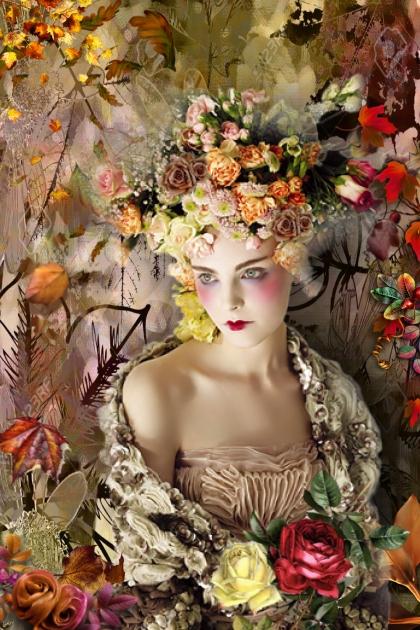 Dame med roser og høstblader