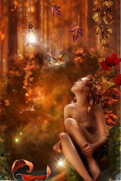 Jente i høstskog