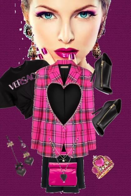 Rutet rosa jakke med sort bukse