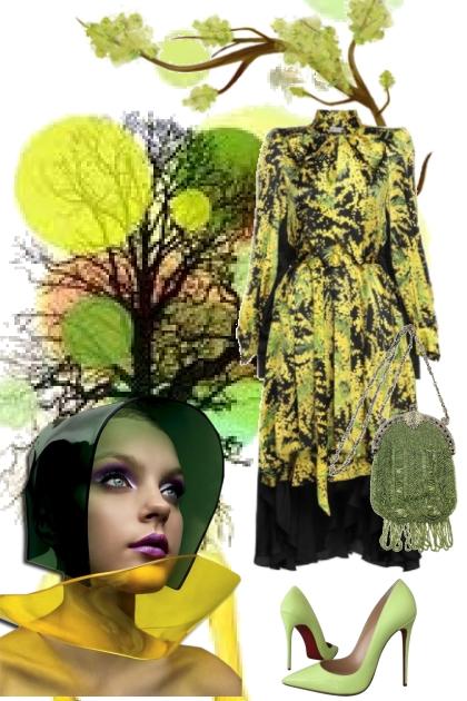 Mønstret kjole i gult og grønt