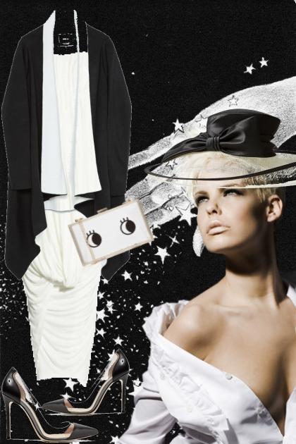 Hvit kjole med sort/hvit jakke