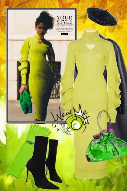Grønn kjole og sort frakk