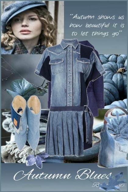 Denim kjole med tilbehør i blått