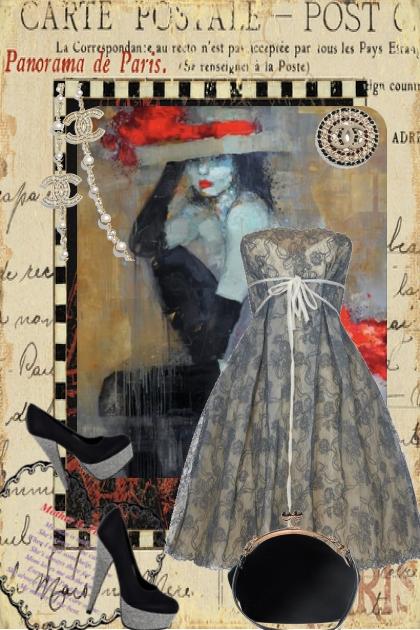 Vintage kjole med sko og veske