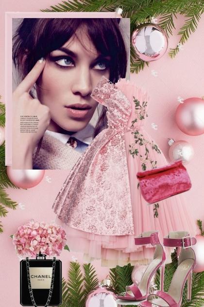 Rosa kjole med sko og veske