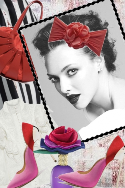 Sort-hvitt stripet skjørt med lilla-røde sko