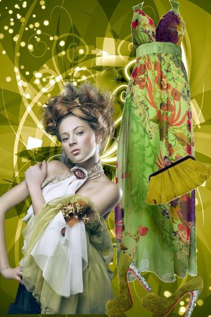 Grønn mønstret sid kjole