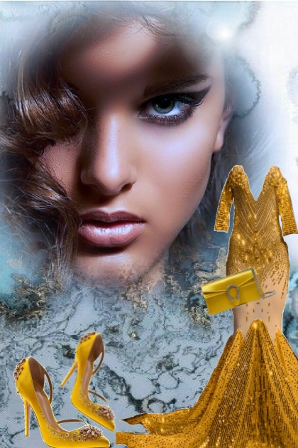 Gullkjole og gull tilbehør