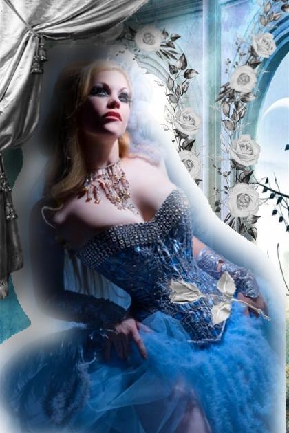 Dame i blå kjole