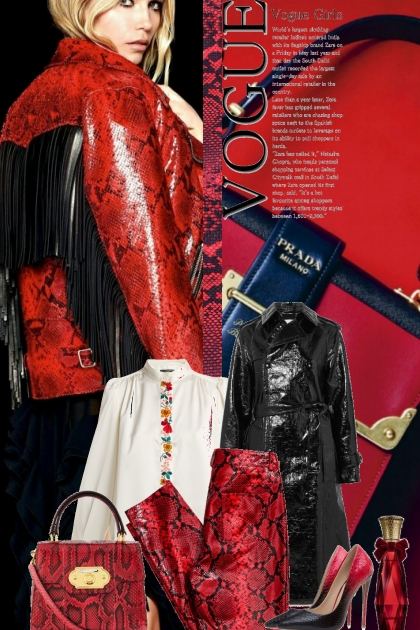 Red snake skin outfit
