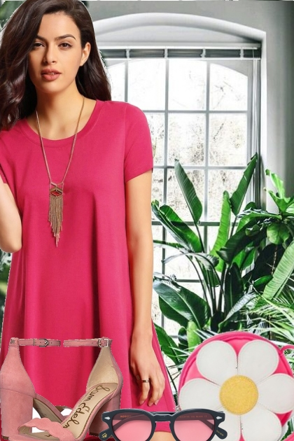 Summer Cotton Dress, Fantastic Pink Color