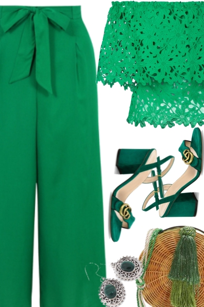 Elegant green set for going out to town
