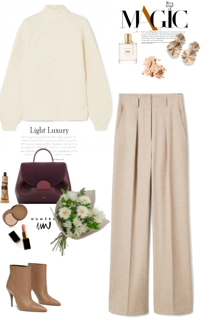 White sweater & Beige trousers