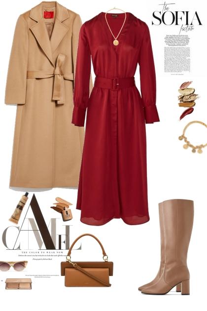 Red Dress & Camel Coat