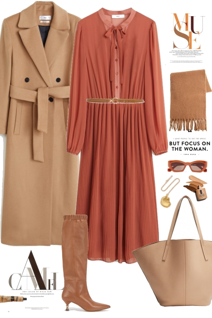 Midi dress and camel tones- Fashion set