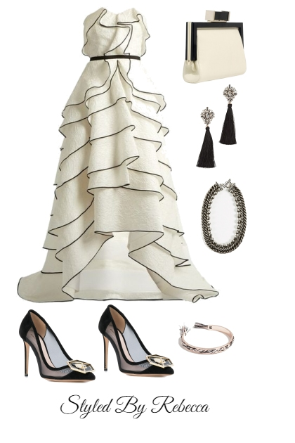 New Year Black And White Gown