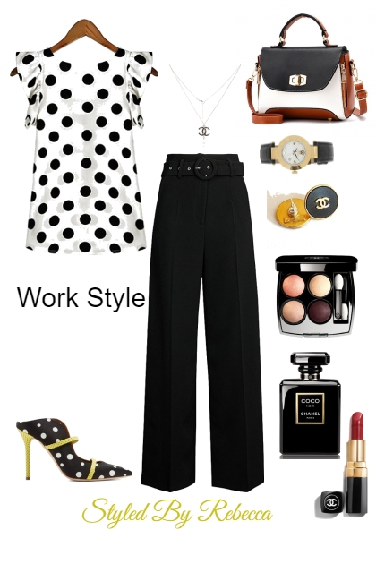 Poka Dot Work Blouse- Fashion set