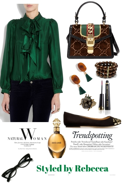 Trendsetting Work Blouse In Green