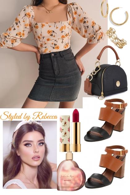 Jean Skirt And Sexy Flirt- Modna kombinacija