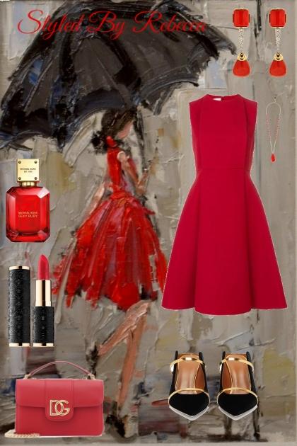 TOO CUTE IN THE RAIN-RED DRESS