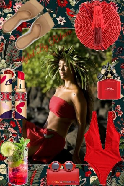 Hawaiian falls beauty in red