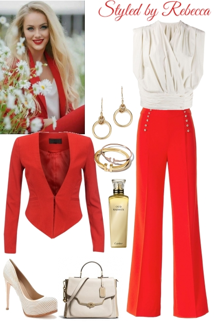 snap that red and cream  style- Fashion set