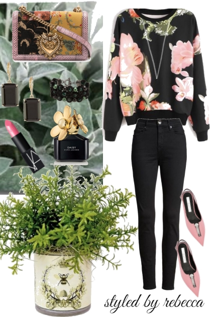 spring black and floral style