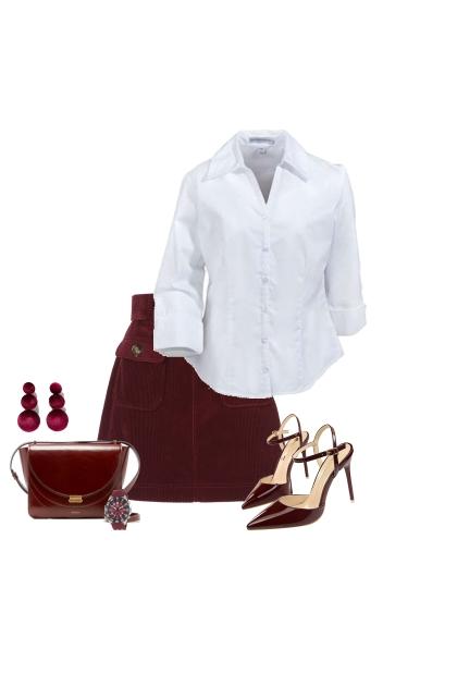 Burgundy & White Spring Outfit- Fashion set