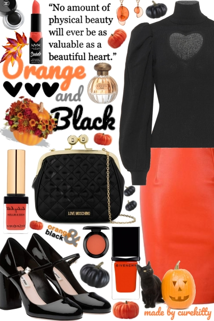 Orange & Black Makes a Beautiful Heart!- Fashion set