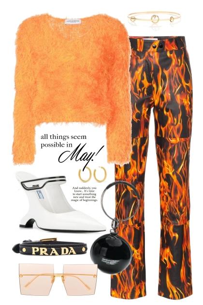 Marine Serre flame print trousers