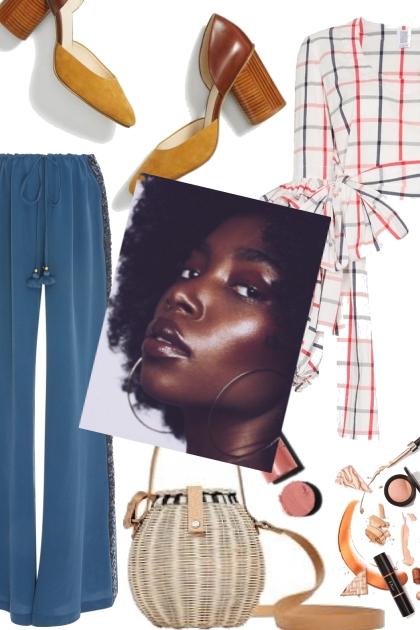 Blue pants/ pleated bluse- 搭配