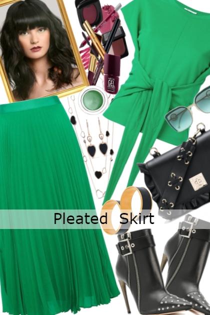 Pleated Skirt: Green