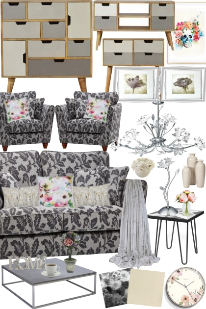 Touch of Floral:Home Edition(Grey & Cream)