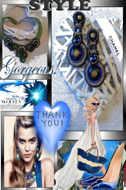 Soutache earrings, authentic (stamp back) Blue/gol