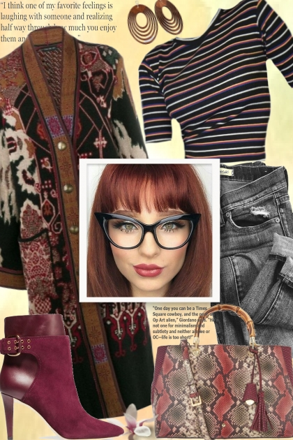 Etro cardigan and cute glasses