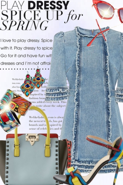 Dress up a denim dress