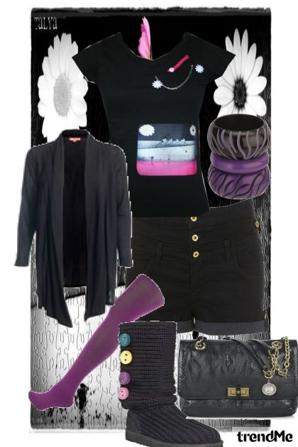 black world with purple pieces....