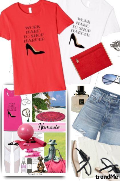 Work Hard to Shop Harder Tshirt Summer Set