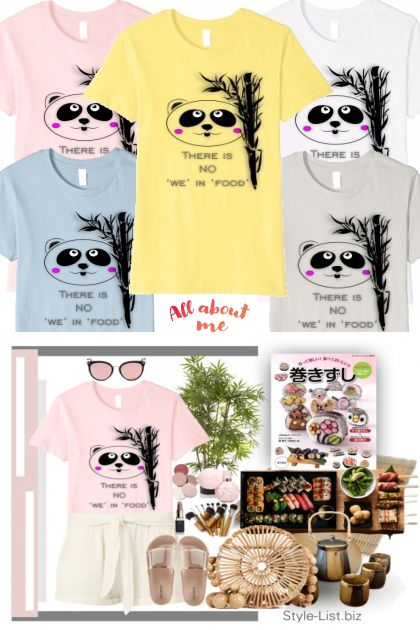 Hungry Panda Tshirt Casual Set- Fashion set