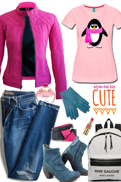Stylish Skating Penguin Tshirt Set