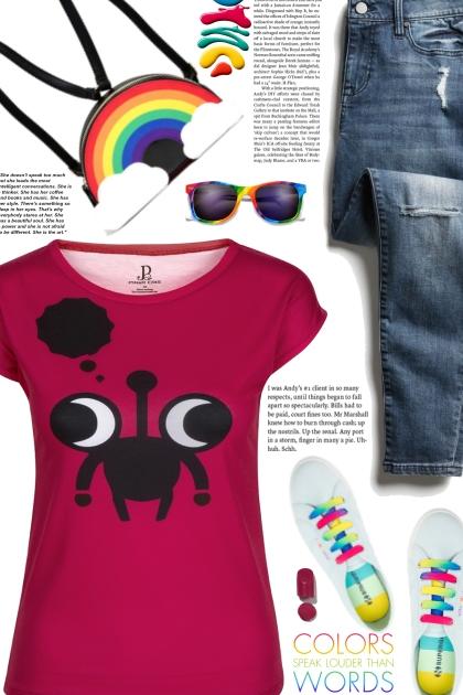Red Black Minimalistic Character Design Slim Fit T
