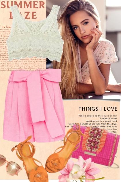 Pink Bow & Orange Flower
