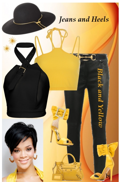 Black and Yellow Jeans and Heels