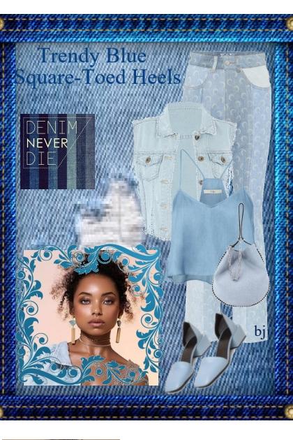 Trendy Blue Square-Toed Heels