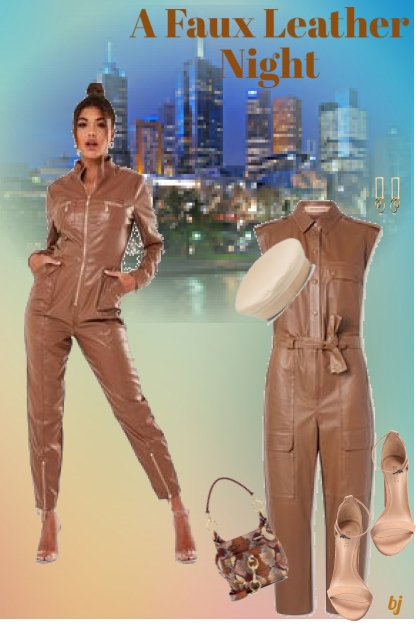 A Faux Leather Night- Fashion set